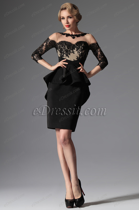 eDressit Black Stylish Round Neckline Mother of the Bride Dress