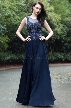 eDressit Blue Sweetheart Prom Gown with Lace and Beads