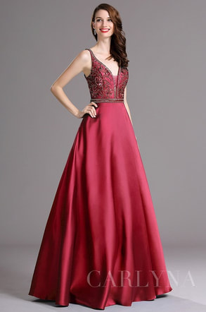 Burgundy Beaded Plunging V Neck Floor Length Formal Prom Dress