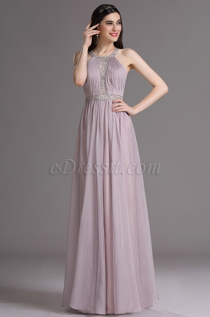 eDressit Violet Halter Beaded Bridesmaid Dress