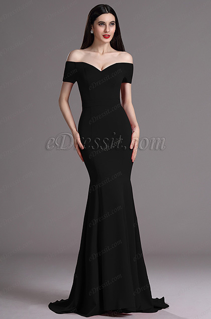 eDressit Elegant Black Off Shoulder Mermaid Formal Dress
