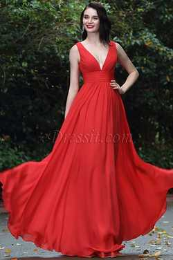 eDressit Red Sexy Chiffon Bridesmaid Dress Evening Gown
