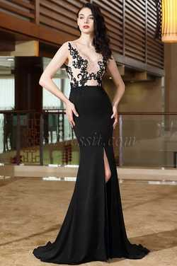 eDressit Lace Long Black Prom Dress with High Slit