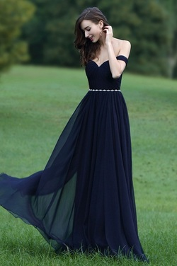 Off Shoulder Dark Blue Dress with Crystal ChainPicture