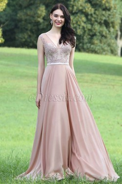 eDressit Blush Sexy Prom Dress with Lace and Beads