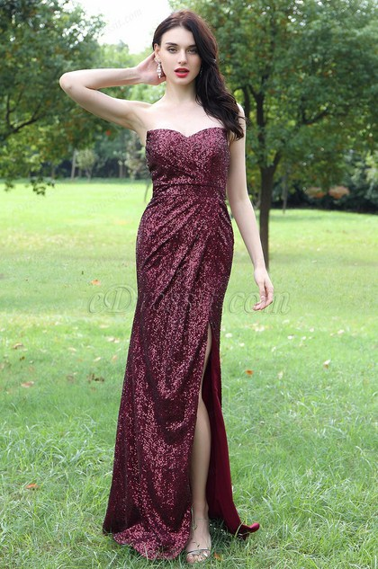 eDressit Burgundy Sweetheart Sequins Dress with High Slit