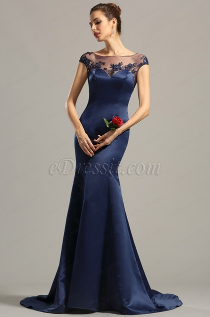 Cap Sleeves Navy Blue Embroidered Evening Dress