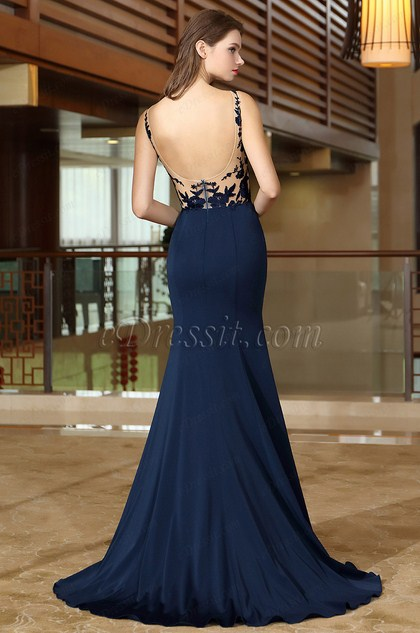eDressit Blue Mermaid Evening Dress with Lace Appliques