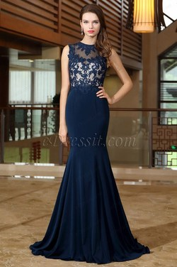 eDressit Blue Sweetheart Formal Gown with Lace Appliques
