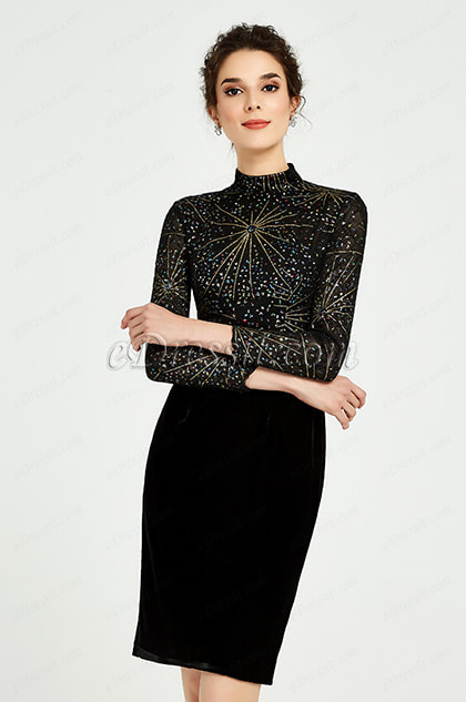 Shiny Black High Neck Velvet Skirt Day Dress