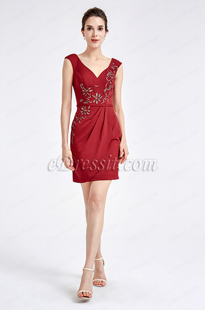 Burgundy Embroidery Short Cocktail Dress