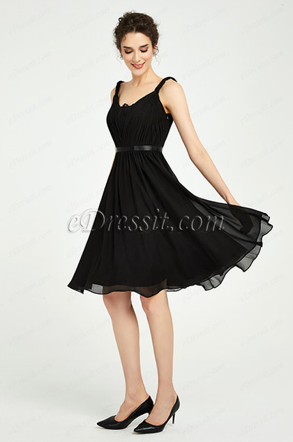 Black Twisted Straps Short Party Cocktail Dress
