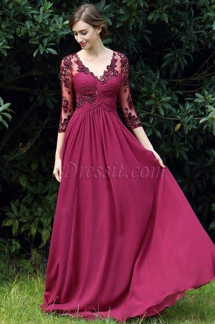 eDressit Fuchsia Floral Mother of the Bride Occasion Dress