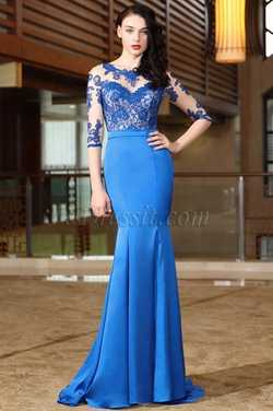 eDressit Blue Half Sleeves Lace Mother of the Bride Dress