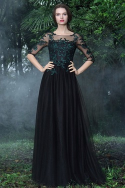 eDressit Black Formal Gowns with Green Lace Appliques