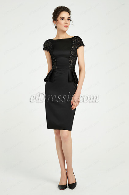 Black Cap Sleeves Party Mother of the Bride Dress
