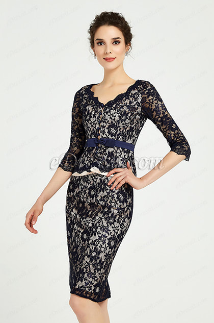 Blue Lace Mother of the Bride Women''s Dress