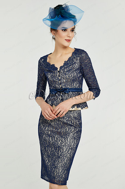 Blue Floral Lace Mother of the Bride Party Dress
