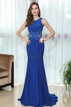 eDressit Blue Sleeveless Lace Appliques Prom Mermaid Gown